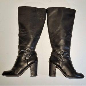 Tahari Black Leather Boots zip up - Size 9.5